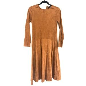 Dresses & Skirts - Bianca Nero A-Line Suede Long Sleeve Dress